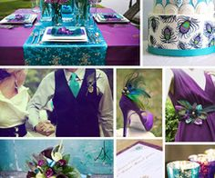 Turquoise and purple wedding colors.without the peacock Wedding Themes, Wedding Events, Our Wedding, Dream Wedding, Wedding Photos, Wedding Decorations, Wedding Stuff, Wedding Pins, Peacock Wedding Favors