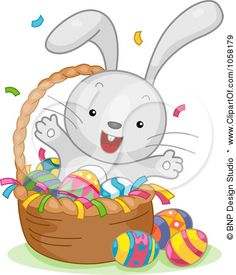 Royalty-Free Vector Clip Art Illustration of an Easter Bunny Celebrating In A Basket Of Eggs by BNP Design Studio