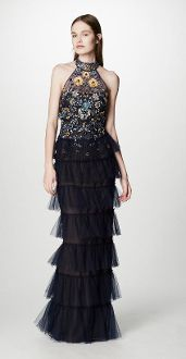 Marchesa Notte Sleeveless Beaded Tulle Evening Gown N15G0368