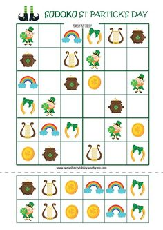 St Patrick's Day: Sudoku and Double Free Puzzles For Kids, Ramadan Crafts, Scissor Skills, Preschool Math, Math Worksheets, Toddler Activities, St Patricks Day, Coding, Charlotte