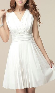 Would be a cute rehearsal dinner dress. Korean sleeveless chiffon dress White