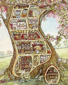 """""""The indoor map of the Crabapple Cottage where Mr. and Mrs."""" Brambly Hedge, Spring Story - first published in 1980 by Jill Barklem a British illustrator and writer of Children's Book Fantasy Kunst, Fantasy Art, Faraway Tree, Brambly Hedge, Photo Images, Children's Book Illustration, Book Illustrations, Conte, Hedges"""
