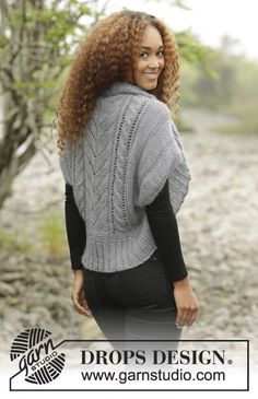 Grey Whisper by DROPS Design. Shoulder piece with cables and rib. Free knitting pattern