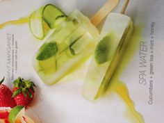 Spa Water Popcicle.  cucumber, green tea, mint, honey and cucumber