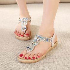 12.57$  Buy here - http://ali8tb.shopchina.info/go.php?t=32555635483 - Women sandals comfort flat sandals Rhinestone 2017 women summer fashion beach sandals women shoes  #aliexpress