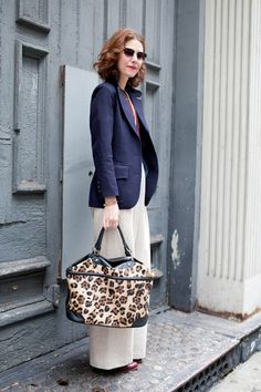 What I'm wearing: Vintage navy wool blazer from Mafalda in Brooklyn, Rachel Antonoff trousers, Band of Outsiders striped T-shirt, pearls (a gift from my mom), a pair of vintage oxblood oxfords, and my good ole leopard tote from Topshop.