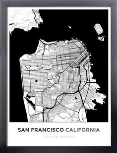 Framed Map Poster of San Francisco California Modern Contrast