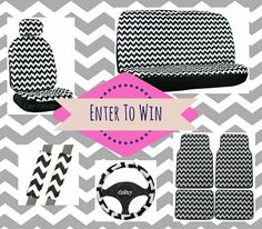 Enter to win Chevron zig zag car accessories. Visit our FaceBook fan page and enter our contest for a chance to win a black & white Chevron 11 piece seat cover set and matching floor mats. Hurry, contest ends Dec.1, 2014. www.facebook.com/CarDecorProducts