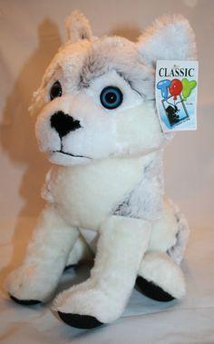 "NEW Classic Toy Husky Plush Dog Blue Eyes Soft 11"" Stuffed Animal Puppy Toy NWT"