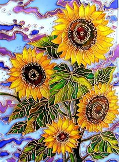 Sunflowers. Stained Glass Painting by St. Petersburg artist Iris