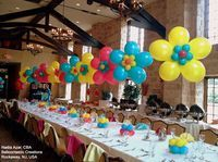 Spring is just around the corner! Brightly-colored #balloon #flowers are perfect for decorating any spring-themed event or party. Design by Nadia Azar, CBA, of Balloontastic Creations in Rockaway, NJ, USA.