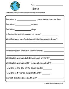 Planets Worksheets for Kids. 20 Planets Worksheets for Kids. Free Printable solar System Coloring Pages for Kids Geography Worksheets, Social Studies Worksheets, 1st Grade Worksheets, Science Worksheets, School Worksheets, Science Lessons, Kindergarten Worksheets, Worksheets For Kids, Life Science