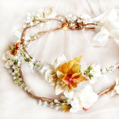 fall floral crown bridal headpiece autumn wedding by thehoneycomb, $105.00