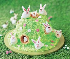 Bunny Hill Cake ~ a fun Easter dessert of marbled sponge cake for a hilltop, covered in green coconut grass & sugar flowers, w/ice cream cones (!!) inserted for rabbit holes into a warren of some marshmallow bunnies ~ such a clever & cute idea! Instructions call for a pudding basin but if you don't have one, you could bake round layers to stack & shape instead | from Asda Recipes (UK)