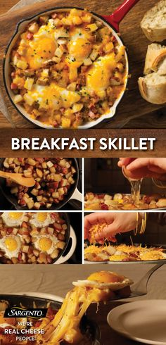 Whether you're making an Easter breakfast or just want to spice up your morning routine, feel free to put all your eggs in this basket. Our cheesy breakfast skillet is ready in six easy steps and can feed guests, family members or ravenous Easter bunni Breakfast Skillet, Breakfast Dishes, Breakfast Time, Breakfast Recipes, Breakfast Ideas, Breakfast Potatoes, Breakfast Sandwiches, Brunch Ideas, Breakfast Casserole