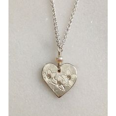 """SALE Stephanotis Heart Sterling Silver Necklace 18"""" enter coupon code... ($142) ❤ liked on Polyvore featuring jewelry, necklaces, heart jewelry, heart necklace, heart shaped necklace, sterling silver heart jewelry and heart shaped jewelry"""