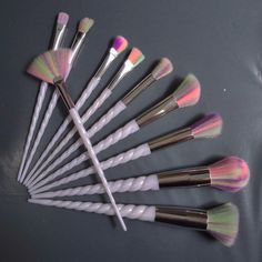 10p Rainbow Hair Thread Unicorn Makeup Brushes Set Professional Soft Cosmetic Foundation Brush Eyeshadow Make up kwaste Brush