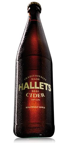 Hallets Real Cider ...Sill Cider made using the keeving method (addition of juice). 500ml bottles priced at £3.36. 'Beautifully Simple' branding.     Also producers of Vintage Cider - bottled and corked.