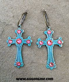 Pink Panache Turquoise Roman Cross Earrings with Coral Crystals $18.95 www.gugonline.com
