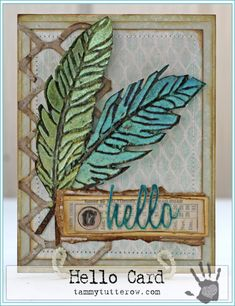 Tammy Tutterow Hello Card   www.tammytutterow.com using Tim Holtz, Ranger, Sizzix and Stamper's Anonymous products; Feb 2015