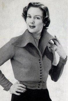 1950s Byronienne Large Collar Sweater Knitting Pattern PDF Download E-Pattern by WearingHistory on Etsy