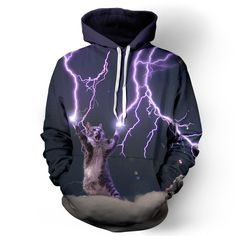 """belovedwear® presents the #LightningCat hoodie. This """"all over"""" print crewneck sweatshirt is made using a special sublimation technique to provide a vivid graphic image throughout the shirt. 100% Poly"""