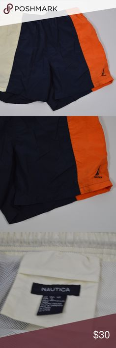 8be31bd2d4 Vintage NAUTICA Mens Large Swimming Trunks Orange Vintage 90s Nautica Spell  Out Swimming Trunks Swimming Trunks