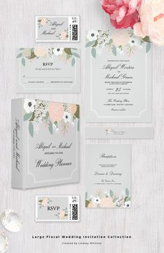 Floral Wedding Invitation Collection in Peach and Grey