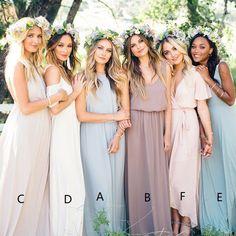 bdb054b0 A-Line Jewel Light Blue Floor-Length Chiffon Bridesmaid Dress. Floral Brudepige  KjolerLange ...