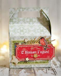 holiday gift box | I-Kropka DT @akonitt #holidaybox #giftbox #i-kropka #chipboard #by_marina_gridasova #scrapberrys #electroniccutting #silhouettecameo #cutting #scrapbooking