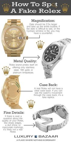 Known around the world as a symbol of class and prestige, remains a highly coveted brand. With such high demand, there is also a myriad of imitations of these Check out our guide to spotting a real Rolex from a fake. Rolex Watches For Men, Seiko Watches, Luxury Watches For Men, Male Watches, Stylish Watches, Cool Watches, Modern Watches, Casual Watches, Swiss Army Watches