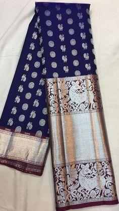 Kanjivaram Sarees Silk, Blue Silk Saree, Banarsi Saree, Kanchipuram Saree, Soft Silk Sarees, Saree Blouse Patterns, Saree Blouse Designs, Lakshmi Sarees, Indian Bridal Sarees