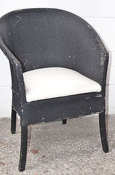 Gorgeous Vintage Small Lloyd Loom Style Lusty Wicker Bucket Chair
