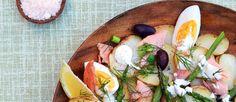 Healthy salade van geroosterde aardappels met zalm en groene asperges ♥ Foodness - good food, top products, great health