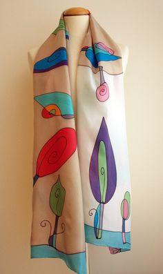 Handpainted Silk Scarf. Trees Silk Scarf.Hand painted Silk
