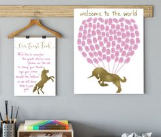 Fingerprint guestbook Print Unicorn Baby shower decor, pink and gold, guest book, fantasy theme, horse nursery by EllowDee