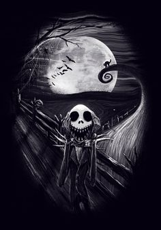 The Scream Before Christmas by nicebleed83 on DeviantArt Horror Filme, Halloween Art, Halloween Painting, Jack Tim Burton, Tim Burton Art Style, Tim Burton Artwork, Christmas Art, The Scream, Nightmare Before Christmas Tattoo