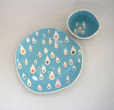 made to orderDessert plate Turquoise by CeramicaBotanica on Etsy