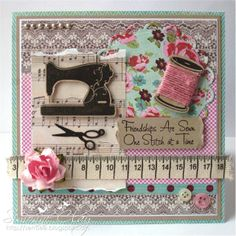 69 Ideas Vintage Cards Handmade Stampin Up Layout Cute Cards, Diy Cards, Sewing Cards, Shabby Chic Cards, Ideias Diy, Friendship Cards, Card Tags, Creative Cards, Vintage Cards