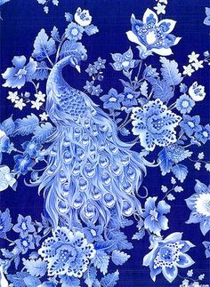 "Navy, Periwinkle, Mist, Ice Blue, White, Marine Blue, Silver Metallic Radiant peacocks display their stunning tail feathers as they wander among stylized jewel toned blossoms, all sparkling with a silver metallic etching. This extravagant collection centers around the iridescent plumage of the beloved peacock that reaches across cultures, myths, and history to bring us a timeless and lasting beauty. Peacocks are about 13"", with silver metallic, from the 'Plume' collection by Timeless…"