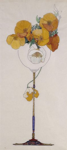 california poppies in tall goblet (late 19th century), lucia k. mathews