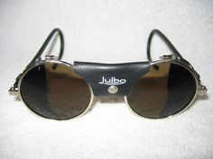 Julbo Sunglasses  (Vintage Glacier Mountaineering Steampunk Leather Blinders, Men's Pre-owned Designer Sun Glasses)
