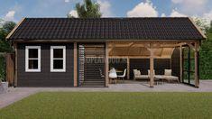 Kapschuur Stockholm XL met steellook en shutter - Toplawood Backyard Bar, Backyard Landscaping, Garden Structures, Pool Houses, Interior Inspiration, Tiny House, Cool Designs, Home And Garden, Patio