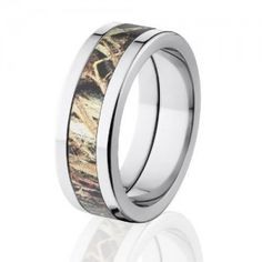 Duck Blind Camo Wedding Rings, Mossy Oak Camouflage Bands, USA Made