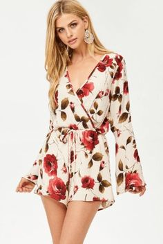 3df64497cc79 Bell Sleeve Romper Floral Surplice Top  Go with the bloom. This gorgeous  romper features