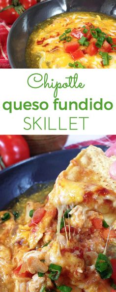 Chipotle Queso Fundido Skillet. Melty, stretchy, molten cheese. Shredded chicken and salsa, tomatillo & chipotle sauces. Smoky, spicy and sweet! Copycat of Margarita's Queso Fundido.