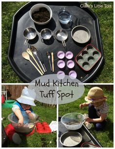 If you don't have space for a mud kitchen you can just use a tray - check out this link using a tuff spot. Mud Kitchen Tuff Spot fun outdoor activity great for messy and sensory play - Tuff Spot, Outdoor Activities For Kids, Outdoor Learning, Outdoor Play For Toddlers, Outdoor Play Ideas, Tuff Tray Ideas Toddlers, Eyfs Outdoor Area, Outdoor Fun, Outdoor Spaces
