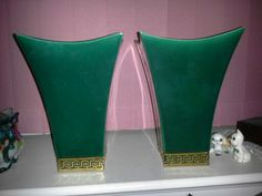 Pair of green with gold trim Vintage vases.