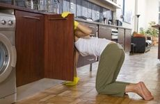 Musty smells tend to develop in especially damp cabinets.