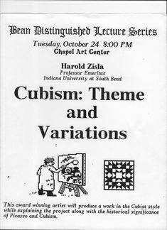 Poster for guest lecture Saint Anselm College, Manchester, New Hampshire 1989 South Bend, Cubism, Hampshire, Manchester, Abstract Art, College, Poster, University, Hampshire Pig